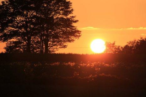 Огромное солнце в момент заката